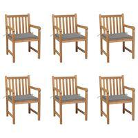 vidaXL Sodo kėdės su pilkomis pagalvėlėmis, 6vnt., tikmedžio masyvas