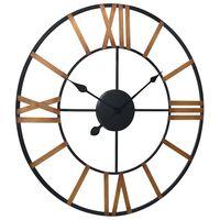 vidaXL Sieninis laikrodis, auksinės ir juodos spalvos, 80cm, metalas