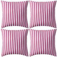 vidaXL Lauko pagalvės, 4 vnt., rožinės spalvos, 45x45cm, dryžuotos