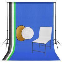 vidaXL Fotostudijos komplektas su stalu, fonu ir reflektoriumi