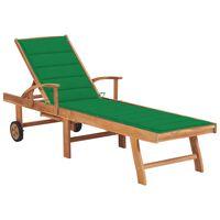 vidaXL Saulės gultas su žaliu čiužiniu, tikmedžio medienos masyvas