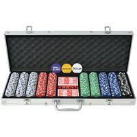 vidaXL Pokerio rinkinys su 500 žetonų, aliuminis