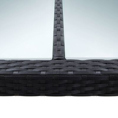 vidaXL Lauko valgomojo stalas, juodas, 200x150x74cm, poliratanas