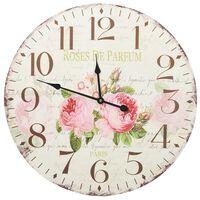 vidaXL Sieninis laikrodis, 60 cm, vintažinio stiliaus, su gėlėmis