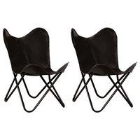 vidaXL Išskleidžiamos kėdės, 2vnt., juodos, tikra oda, vaikams
