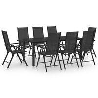 vidaXL Sodo valgomojo baldų komplektas, 9 dalių, juodas, aliuminis