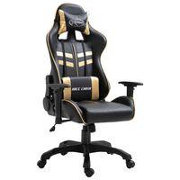 vidaXL Žaidimų kėdė, auksinė, dirbtinė oda