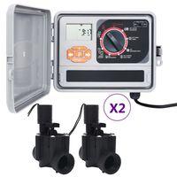 vidaXL Sodo laistymo sistemos valdiklis su 4 solenoido vožtuvais