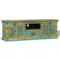vidaXL TV staliukas, masyvi mango mediena, mėlyna sp., rankomis dažyta