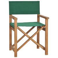 vidaXL Režisieriaus kėdė, žalios spalvos, tikmedžio medienos masyvas