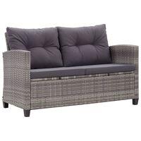 vidaXL Dvivietė sodo sofa su pagalvėlėmis, pilka, 124cm, poliratanas
