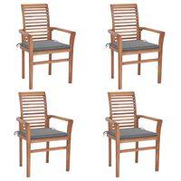 vidaXL Valgomojo kėdės su pilkomis pagalvėlėmis, 4vnt., tikmedis