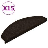 vidaXL Lipnūs laiptų kilimėliai, 15vnt., tamsiai rudi, 65x21x4cm