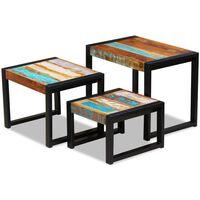 vidaXL Sustumiami staliukai, 3vnt., perdirbtos medienos masyvas