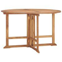 vidaXL Sulankstomas sodo stalas, skersmuo 120x75cm, tikmedžio masyvas