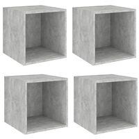 vidaXL Sieninės spintelės, 4vnt., betono pilkos, 37x37x37cm, MDP