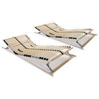 vidaXL Grotelės lovoms su 28 lentjuostėmis, 2vnt., 90x200cm, 7 zonos