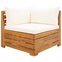 vidaXL Modulinė kampinė sofa su pagalvėmis, 1vnt., akacijos masyvas