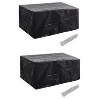 vidaXL Sodo baldų uždangalai, 2 vnt., 180x140cm, poliratanas, 8 kilpos