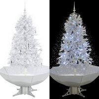 vidaXL Kalėdų eglutė su sniego fun. ir skėč. form. pagr., balta, 170cm