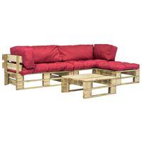 vidaXL Sodo komplektas iš palečių su pagalvėmis, 4 dalių, mediena