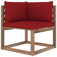 vidaXL Kampinė sodo sofa iš palečių su vyno raudonomis pagalvėlėmis