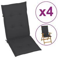 vidaXL Sodo kėdės pagalvėlės, 4vnt., antracito, 120x50x4 cm