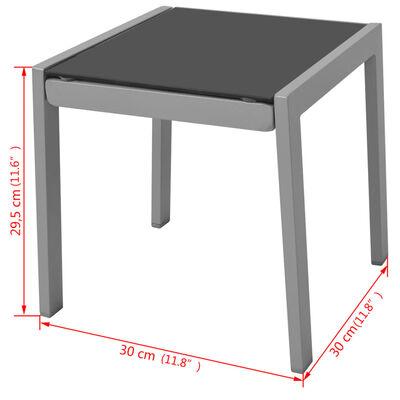 vidaXL Saulės gultas su staliuku, aliuminis, juodos spalvos