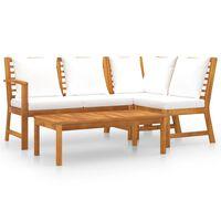 vidaXL Sodo baldų komplektas su pagalvėmis, 4 dalių, kreminis, akacija