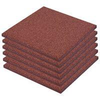 vidaXL Plytelės apsaug. nuo kritimų, 12vnt., raudonos, 50x50x3cm, guma