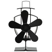 vidaXL Šiluma veikiantis krosnelės ventiliatorius, juodas, 5 mentės