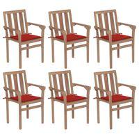 vidaXL Sukraunamos sodo kėdės su pagalvėlėmis, 6vnt., tikmedis