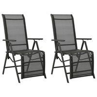 vidaXL Atlošiamos sodo kėdės, 2vnt., juodos, tekstilenas/aliuminis