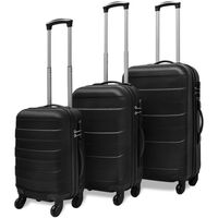 vidaXL Kietų lagaminų su ratukais komplektas, juodos spalvos