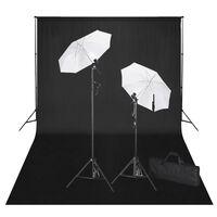 vidaXL Rinkinys fotostudijai, juodas fonas 600x300cm ir šviestuvai