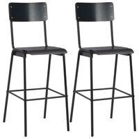 vidaXL Baro kėdės, 2 vnt., juodos sp., faneros masyvas ir plienas