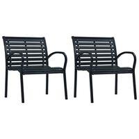 vidaXL Sodo kėdės, 2vnt, juodos spalvos, plienas ir WPC