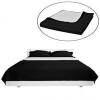 Dvipusis dygsniuotas lovos užtiesalas juodas/baltas 230 x 260 cm