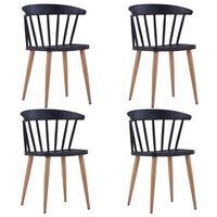 vidaXL Valgomojo kėdės, 4 vnt., juodos spalvos, plastikas (2x247288)