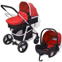vidaXL 3-in-1 Vaikiškas sulankstomas vežimėlis, raudona ir juoda, aliuminis