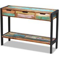 vidaXL Šoninis staliukas, perdirbtos medienos masyvas, su 3 stalčiais