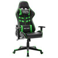 vidaXL Žaidimų kėdė, juodos ir žalios spalvos, dirbtinė oda