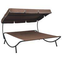 vidaXL Lauko poilsio gultas su stogeliu, rudos spalvos