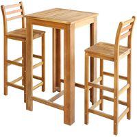 vidaXL Baro stalo ir kėdžių komplektas, 3d., masyvi akacijos mediena