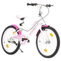 vidaXL Vaikiškas dviratis, rožinės ir baltos spalvos, 20 colių