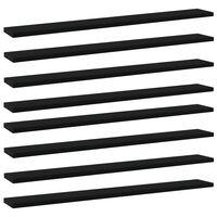vidaXL Knygų lentynos plokštės, 8vnt., juodos, 80x10x1,5cm, MDP
