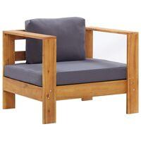 vidaXL Sodo krėslas su pagalvėle, tamsiai pilkas, akacijos masyvas