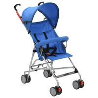 vidaXL Sulankstomas vaikiškas vežimėlis, mėlynas, plienas
