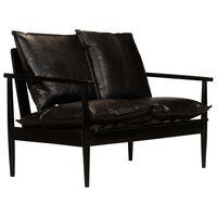 vidaXL Dvivietė sofa, tikra oda ir akacijos mediena, juoda