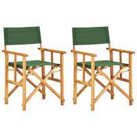 vidaXL Režisieriaus kėdės, 2 vnt., žalios, akacijos medienos masyvas
